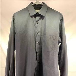 Van Heusen Dress Shirt, Long Sleeve, Black M